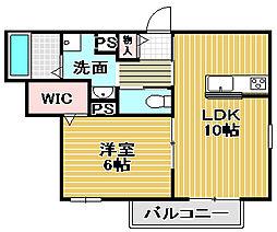 ロングウッド綾園 4階1LDKの間取り