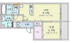 阪急千里線 山田駅 徒歩24分の賃貸アパート 3階1LDKの間取り