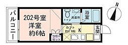 レガーロ羽沢南 2階1Kの間取り