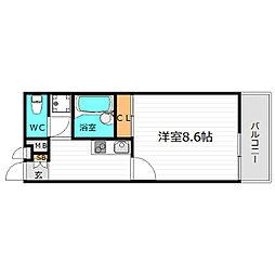 大阪モノレール 門真市駅 徒歩18分の賃貸マンション 2階1Kの間取り