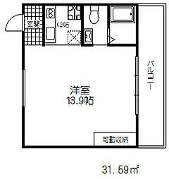 JR東海道・山陽本線 三ノ宮駅 徒歩11分の賃貸マンション 4階1Kの間取り