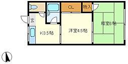兵庫県神戸市垂水区東垂水1丁目の賃貸アパートの間取り