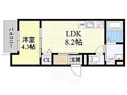 Osaka Metro今里筋線 だいどう豊里駅 徒歩7分の賃貸アパート 2階1LDKの間取り