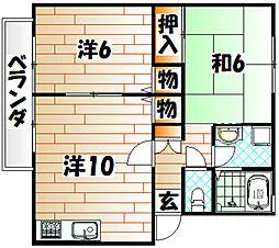 コーポ横代 A棟[202号室]の間取り