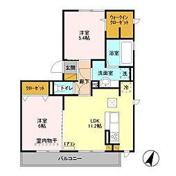 仮)D−roomセントラルパークA[2階]の間取り