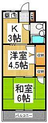 武蔵野サンハイツ東村山[2階]の間取り