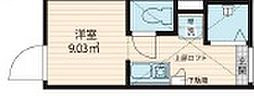 QUQURI 北新宿 2階1Kの間取り