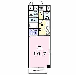JR山陽本線 小月駅 徒歩19分の賃貸アパート 1階1Kの間取り