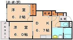 メゾンドフローラ2[1階]の間取り