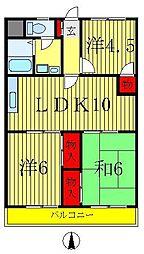 ニュー松戸コーポF棟[2階]の間取り