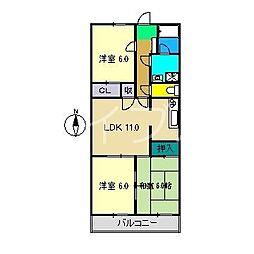 コーポ幸(中万々)[2階]の間取り