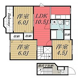 JR総武本線 八街駅 徒歩10分の賃貸アパート 2階3LDKの間取り