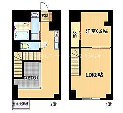 京阪本線 野江駅 徒歩10分の賃貸マンション 2階2DKの間取り