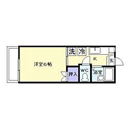 埼玉県川越市富士見町の賃貸アパートの間取り