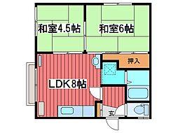 八豊荘[1階]の間取り