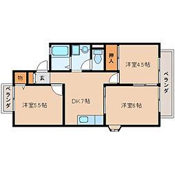 大阪府四條畷市田原台3丁目の賃貸アパートの間取り