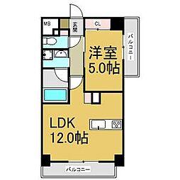 JR中央本線 大曽根駅 徒歩2分の賃貸マンション 9階1LDKの間取り
