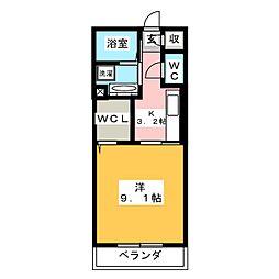 仮)D-room田村町 2階1Kの間取り