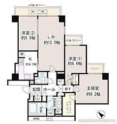 小石川パークタワー 9階3LDKの間取り