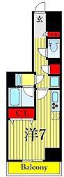 One ROOF Residence Kiba WEST 9階ワンルームの間取り