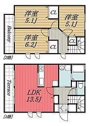 JR総武線 稲毛駅 徒歩5分の賃貸テラスハウス 1階3LDKの間取り