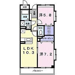 東京都府中市日新町3丁目の賃貸マンションの間取り