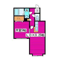 JR学園都市線 篠路駅 徒歩26分の賃貸アパート 2階1LDKの間取り