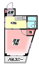 TOMOEマンション 2階1Kの間取り