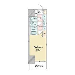 プライムアーバン御堂筋本町(旧プランドール本町)[1505号室]の間取り