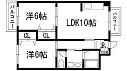兵庫県宝塚市野上3丁目の賃貸マンションの間取り