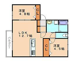 仮)須恵町新築アパート[2階]の間取り