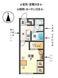 愛知県あま市篠田八原の賃貸アパートの間取り