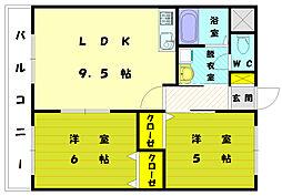 ハイドパーク古賀[3階]の間取り