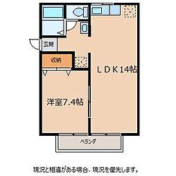 ビュードパレス A棟[2階]の間取り