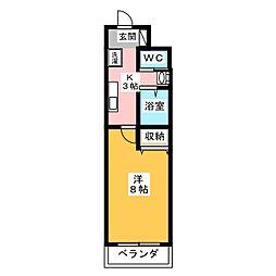 A-city港本宮 1階1Kの間取り