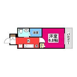 仙台市営南北線 北四番丁駅 徒歩4分の賃貸マンション 8階1Kの間取り