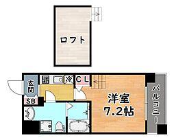 JR東海道・山陽本線 六甲道駅 徒歩9分の賃貸マンション 6階1Kの間取り