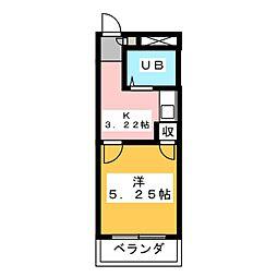 ウイング富塚 1階1Kの間取り