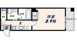レクラン深江南 3階1Kの間取り