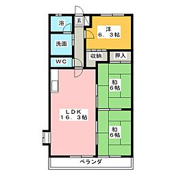 コーポモリタIII[6階]の間取り