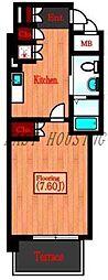 JR山手線 代々木駅 徒歩6分の賃貸マンション 1階1Kの間取り