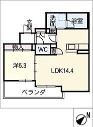仮)シャーメゾン豊田市吉原町 2階1LDKの間取り