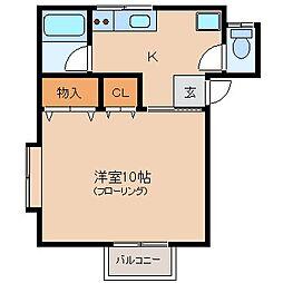 ハウスドリームB棟[1階]の間取り
