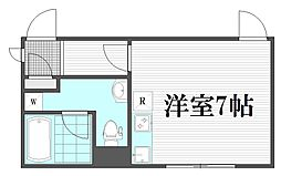 LIVART SEASON Sangubashi 4階ワンルームの間取り