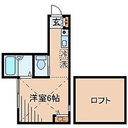 神奈川県横浜市神奈川区白幡西町の賃貸アパートの間取り