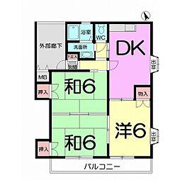 エクセレントスズキA棟 1階3DKの間取り