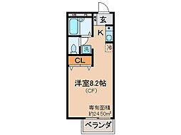京都府京都市伏見区向島津田町の賃貸アパートの間取り