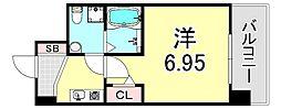 セレニテ江坂ルフレ 6階1Kの間取り