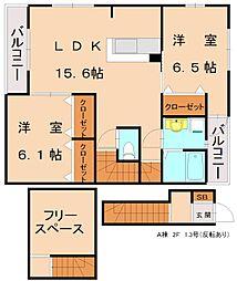 仮)三倉コーポ A[2階]の間取り