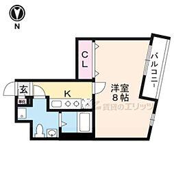 京福電気鉄道北野線 北野白梅町駅 徒歩22分の賃貸マンション 5階1Kの間取り